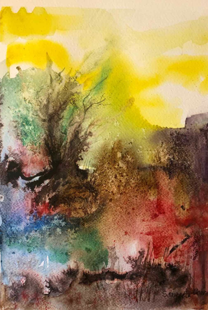 "glow - Water color Paintings: Water color, 9""×12"", USD 350"