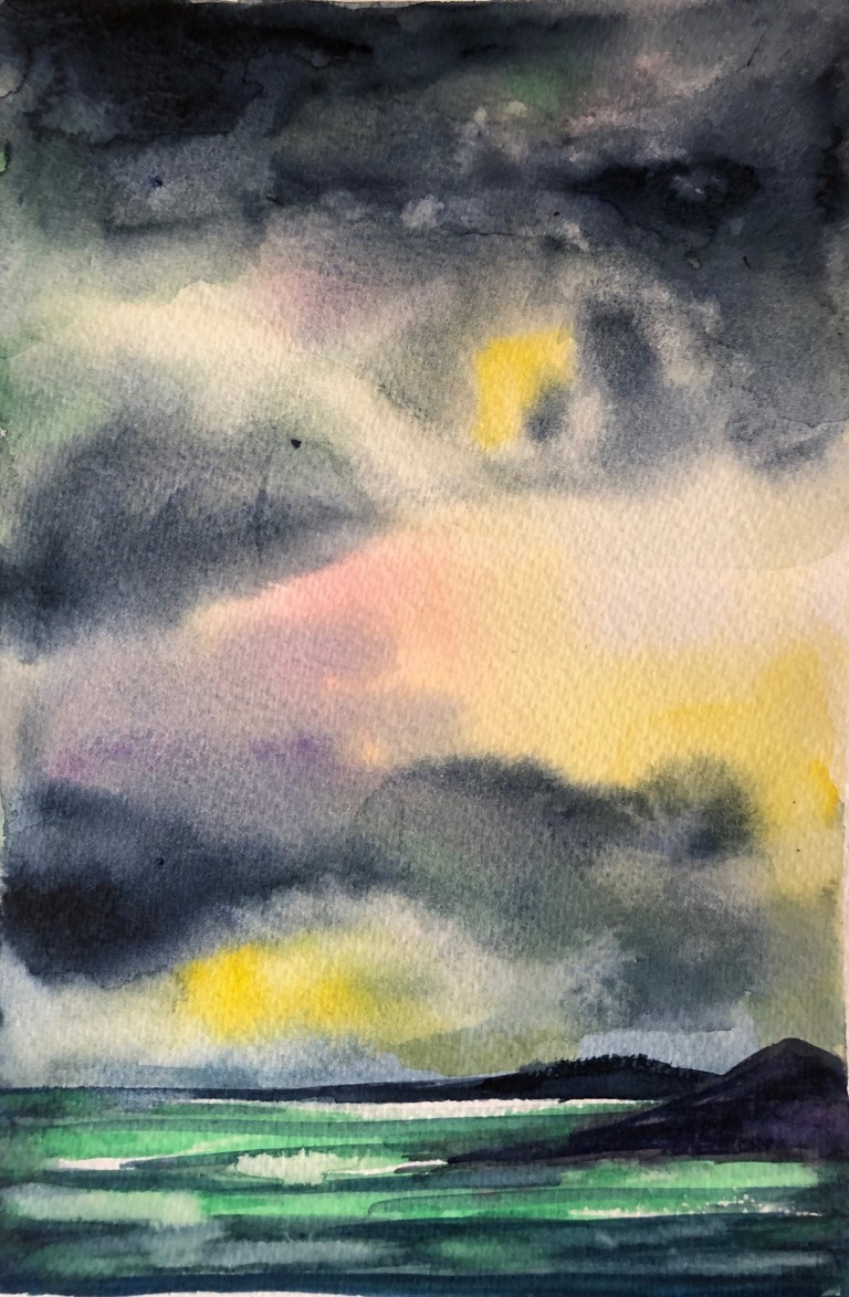 "threatening to rain - Water color Paintings: Water color, 7""×10"", USD 200"